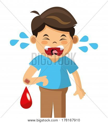 crying boy blood pain vector illustration eps 10