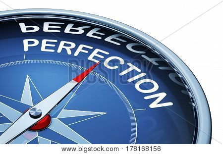 3D rendering of a compass with the word perfection