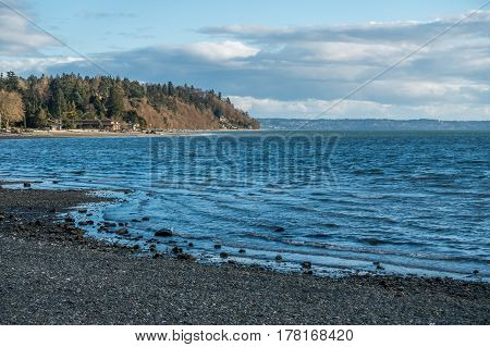 A view of the shoreline in Normandy Park Washington on the Puget Sound.
