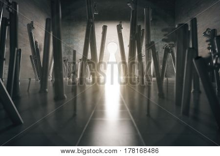 Abstract room with huge keys and opening. Success concept. 3D Rendering