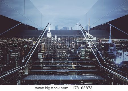 Front view of staircase on abstract night city background. Growth and success concept. Double exposure