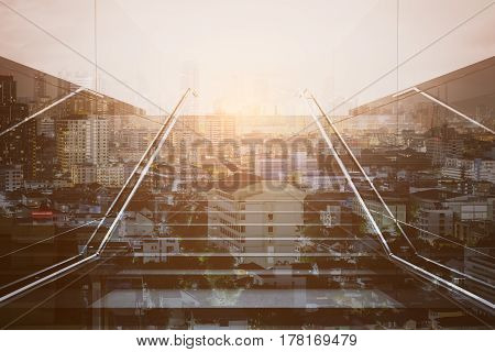 Front view of staircase on abstract bright city background. Growth concept. Double exposure