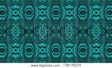 Kaleidoscopic green pattern is computer graphics and it can be used in the design of textiles in the printing industry in a variety of design projects.