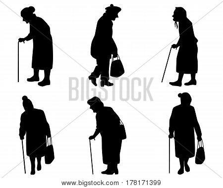 Vector illustration of a six elder women silhouettes
