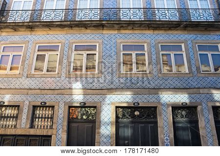 PORTO, PORTUGAL - OCTOBER 21, 2015: Facades of houses in the old town of Porto Portugal