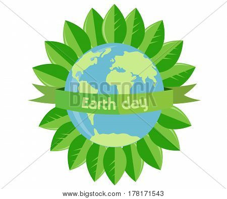 Earth Day. Planet and the inscription around the leaves.
