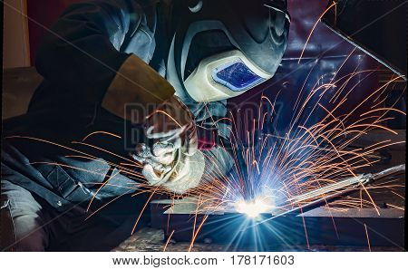welder craftsman erecting technical steel Industrial steel welder in factory technical poster