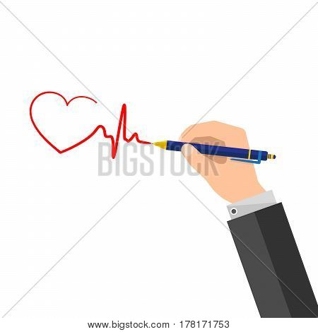 A man puts a signature in the form of a heartbeat. Vector Illustration. hand pen and signature in flat design.