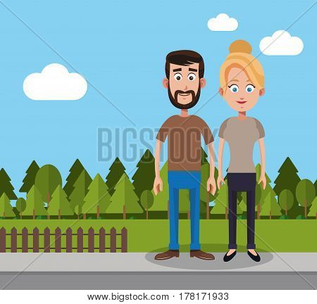 couple man and woman yard fence trees vector illustration eps 10