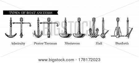 Vector hand drawn illustration set of different realistic types of anchors. Admiralty pattern Porter - Trotman Mushroom anchor Hall and Danforth.
