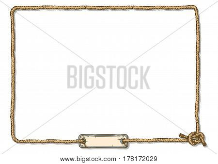 Vector hand drawn illustration of rope knot frame with board and bowline knot.
