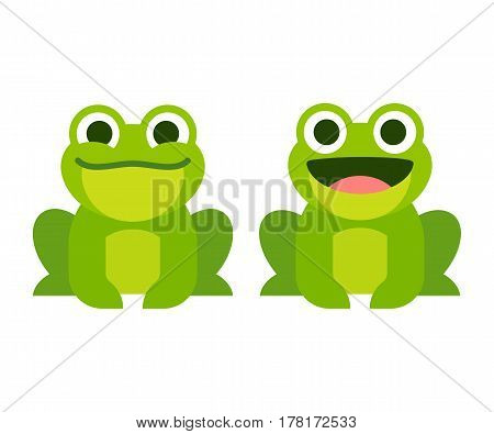 Cute cartoon frog set smiling and croaking animation frames. Simple flat style vector illustration.