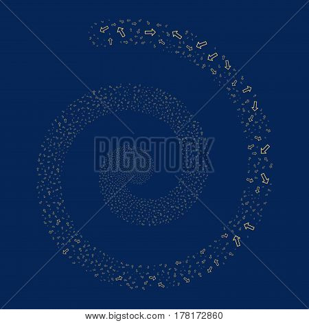Arrow fireworks whirlpool spiral. Vector illustration style is flat yellow scattered symbols. Object whirl made from random pictographs.