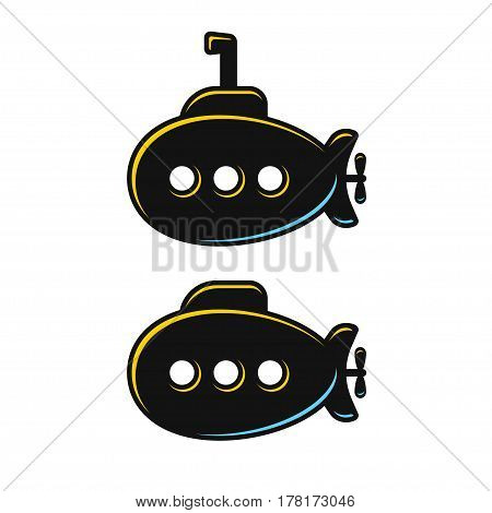 Cartoon submarine isolated illustration with and without periscope. Vector icon or logo.