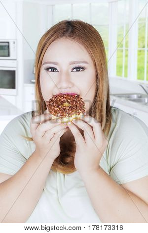 Portrait of young woman eats donut in her hands while looking at the camera