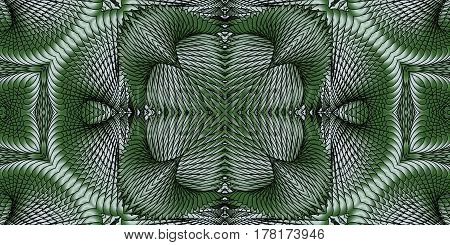 Kaleidoscopic green seamless pattern is computer graphics and it can be used in the design of textiles in the printing industry in a variety of design projects.