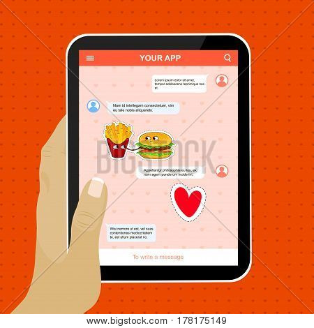 Mobile application example with funny love stickers. Cute cartoon emoticons. Chat application on tablet. Vector illustration.