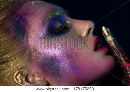 Portrait Of Young Beautiful Woman With Modern Fashion Makeup