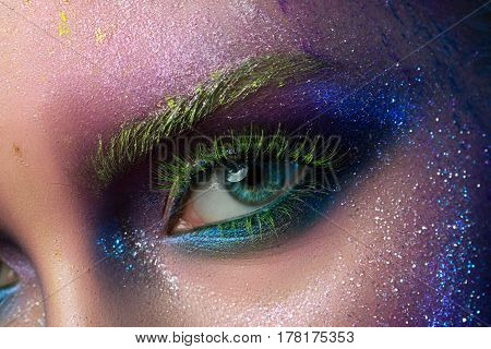 Close Up View Of Female Eye With Fashion Makeup