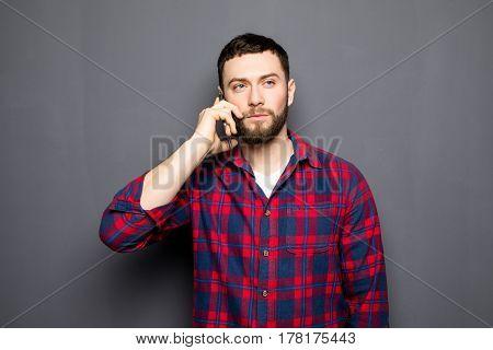 Handsome Man Speak Phone Wear Shirt Jeans