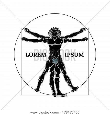 Vitruvian man silhouette on a white background. Vector illustration.