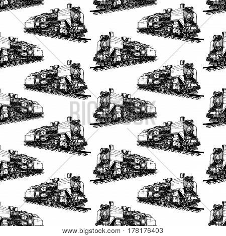 Seamless pattern with steam locomotive. Vector illustration in old fashioned hand drawn style on white background.
