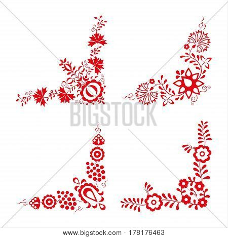 Set of four traditional folk ornaments folk decorative pattern red embroidery isolated on a white background vector illustration