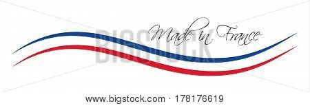 Made in France symbol colored ribbon with the French tricolor