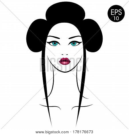 Vector Asian Woman. Girl's Portrait with traditional hairstyle for your design