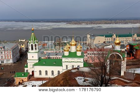 Photo of a beautiful view of the center of Nizhny Novgorod in March
