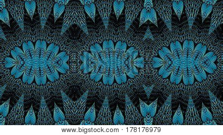 Kaleidoscopic turquoise pattern is computer graphics and it can be used in the design of textiles in the printing industry in a variety of design projects.