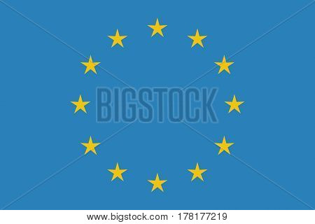 EU flag in closeup Official symbol of the state vector illustration