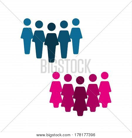 Teamwork logo group of people icon isolated on a white background