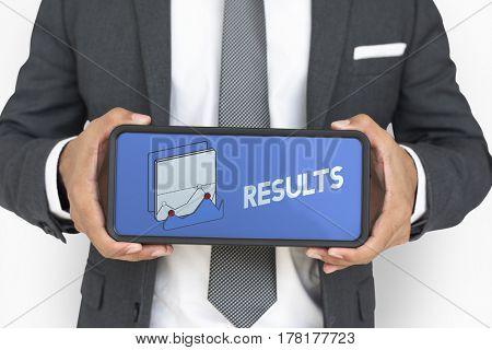 Businessman holding result plate banner