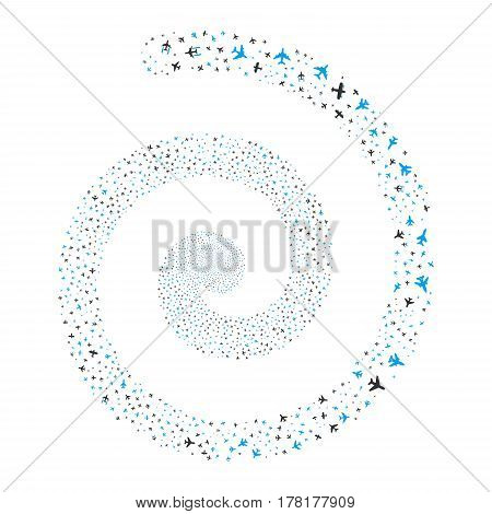 Airplanes fireworks whirl spiral. Vector illustration style is flat bicolor blue and gray scattered symbols. Object whirl created from scattered design elements.