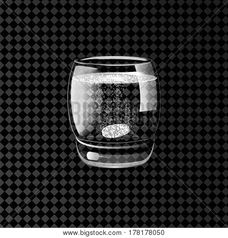 Effervescent pills in a glass of water on a transparent background. Vector illustration.