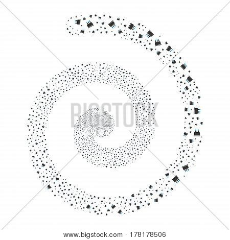 Birthday Cake fireworks vortex spiral. Vector illustration style is flat bicolor blue and gray scattered symbols. Object vortex constructed from random icons.
