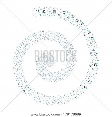 Buzzer fireworks swirling spiral. Vector illustration style is flat bicolor blue and gray scattered symbols. Object whirlpool made from scattered design elements.