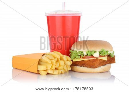 Fish Burger Fishburger Hamburger And Fries Menu Meal Combo Fast Food Drink Isolated