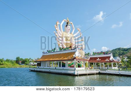 Wat Plai Laem Temple the big Guan Yin statue on the island Koh Samui Thailand.