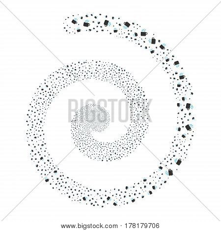Coffee Cup fireworks whirl spiral. Vector illustration style is flat bicolor blue and gray scattered symbols. Object whirl made from random pictographs.
