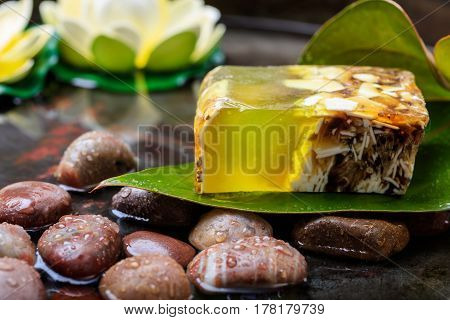 Natural Handmade Soap In Water Background