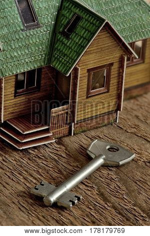 Key attached to housing Concept investment real estate