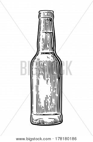 Open beer bottle. Vintage black vector engraving illustration. Isolated on white background.
