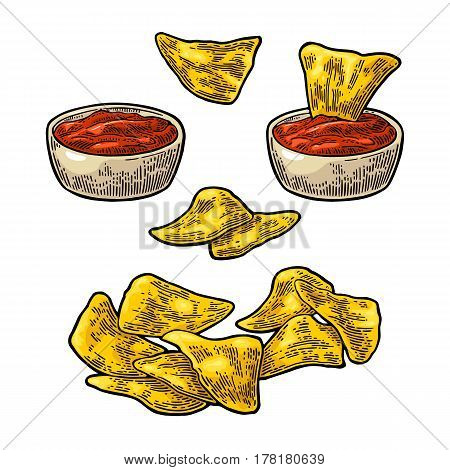 Nachos chips with ketchup in pan - mexican traditional food. Vector black vintage engraving illustration for menu, poster, web. Isolated on white background
