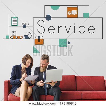 Graphic of business service marketing organization