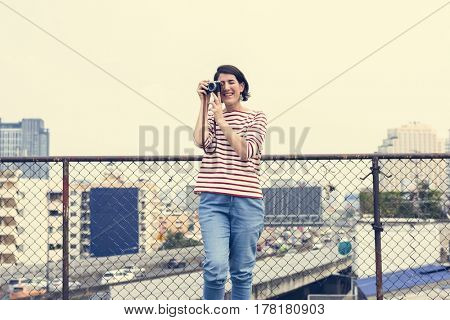 Adult Woman With Camera Capture Snap Shot Outdoor Activity