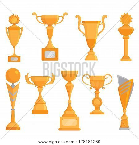 Vector flat golden goblet icon set in flat style. Winner award.Vector golden trophy set.