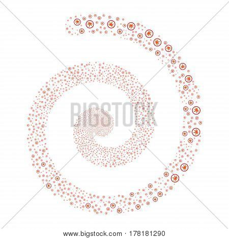 Cannabis fireworks swirling spiral. Vector illustration style is flat bicolor intensive red and orange scattered symbols. Object helix organized from scattered pictograms.