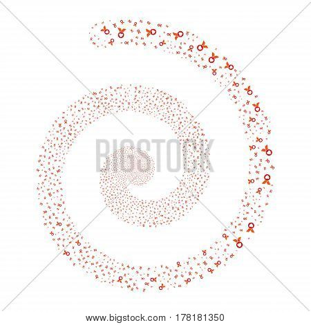 Care Award fireworks swirling spiral. Vector illustration style is flat bicolor intensive red and orange scattered symbols. Object whirl made from scattered pictographs.